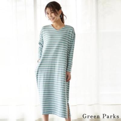 Green Parks V領橫條紋連身洋裝
