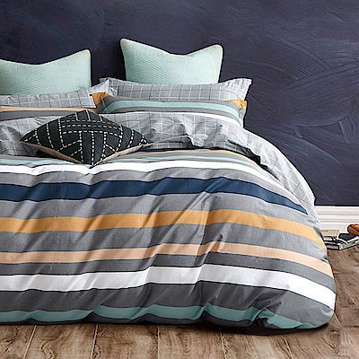 戀家小舖 / 雙人加大床包被套組 午後時光黃 100%精梳棉 活性印染