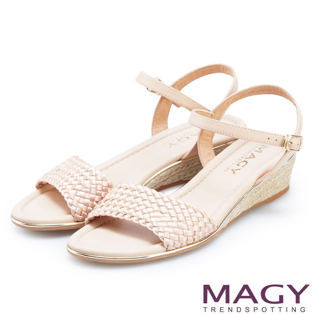 MAGY 異國質感編織楔型涼鞋 粉色