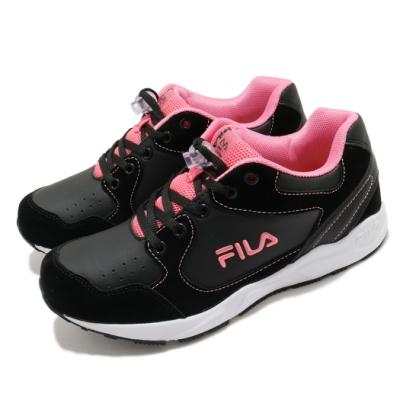 Fila 休閒鞋 J815U 運動 童鞋 基本款 舒適 避震 鞋扣設計 中童 黑 粉 3J815U005