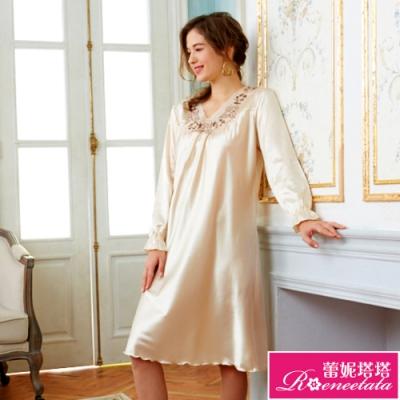 睡衣 彈性珍珠絲質 長袖連身睡衣(R85213-11香檳蕾絲 黃) 蕾妮塔塔