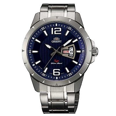 ORIENT東方錶 簡練強悍運動石英腕錶鋼帶(FUG1X004D9)-藍x43mm