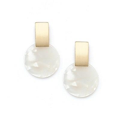 LOVERS TEMPO加拿大品牌 木星造型 白色耳環