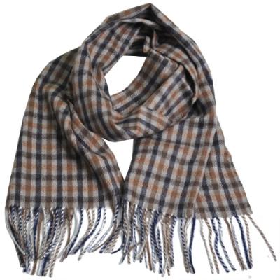 Aquascutum 英國製100%喀什米爾羊毛經典品牌格紋圍巾(咖啡/深藍/橘格紋)