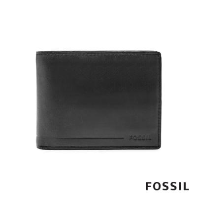 FOSSIL ALLEN 真皮證件格零錢袋RFID男夾-黑色(無鐵盒)