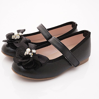 日本娃娃 網紗亮鑽公主鞋款 6940黑(中小童段)