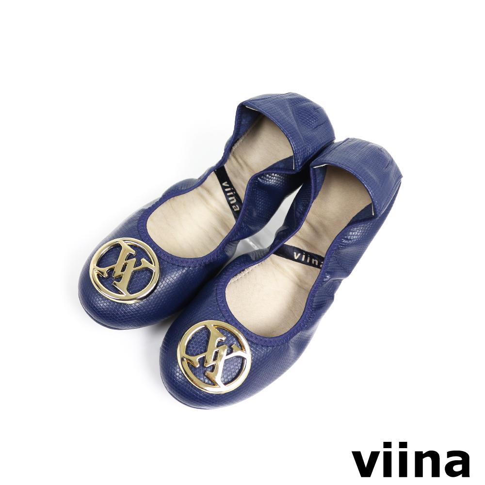viina 經典款金扣蜥蜴紋摺疊鞋MIT-藍色