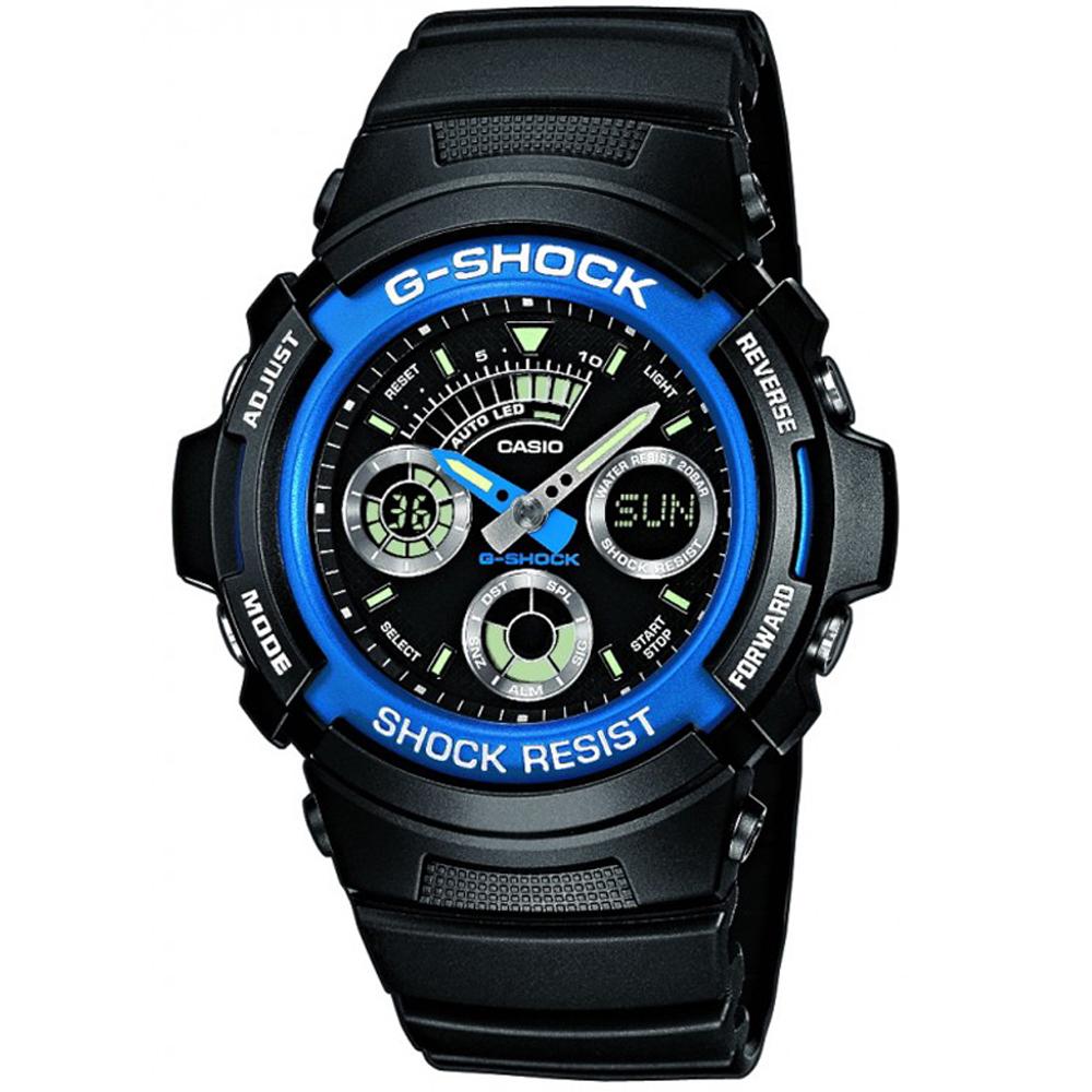 G-SHOCK 極速先鋒運動雙顯錶(AW-591-2A)-炫藍框/44.6mm