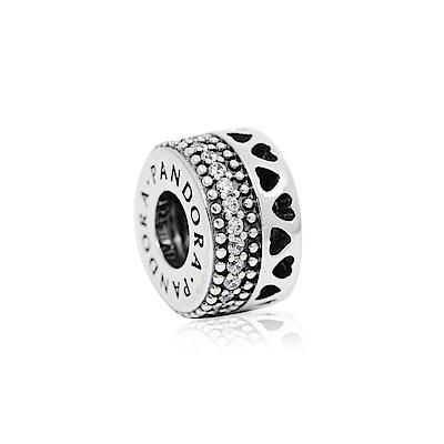 Pandora 潘朵拉 雙排環狀愛心x鋯石 純銀墜飾 串珠
