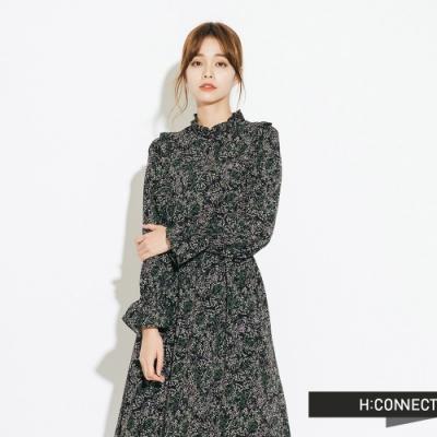 H:CONNECT 韓國品牌 女裝-荷葉領碎花洋裝-黑
