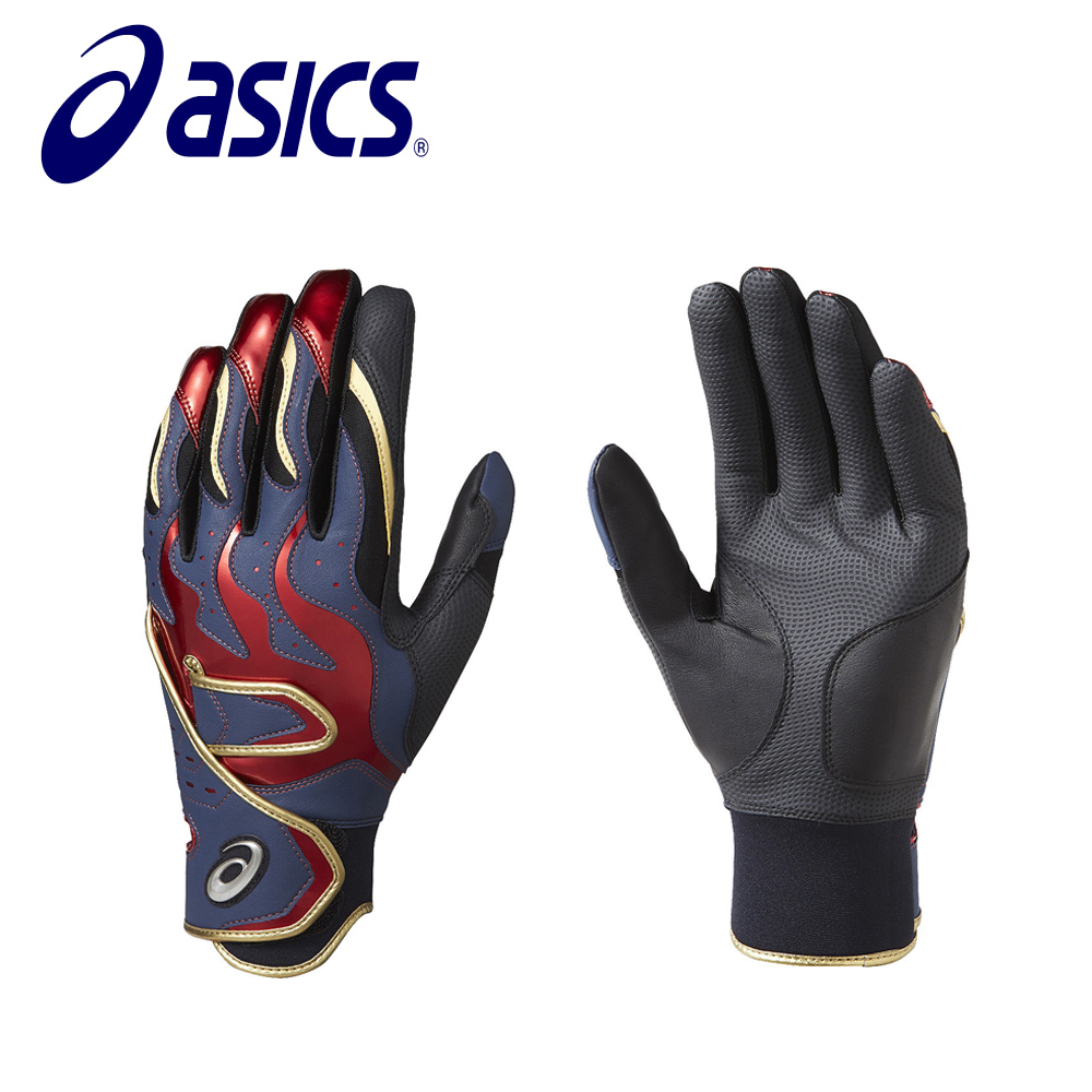 Asics 亞瑟士 打擊手套 一雙 黑紅 BEG270-5023