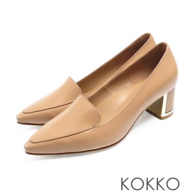 KOKKO - 小方頭樂福金屬鑲邊真皮粗跟鞋 - 奶茶棕