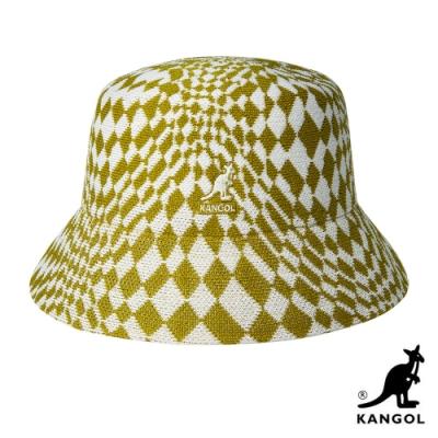 KANGOL-WARPED CHECK 漁夫帽 - 黃白格紋