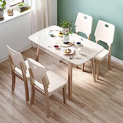 hoi! 時尚簡約大理石紋鋼化玻璃折疊餐桌 1.2M+餐椅 LS159(一桌四椅)-玫瑰金色 (H014263090)
