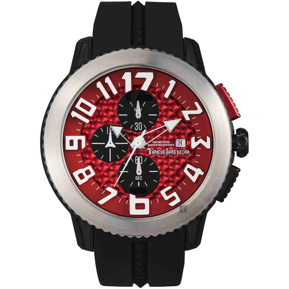 Tendence 天勢 DOME 前衛三眼計手錶-紅x黑/47mm TY016005