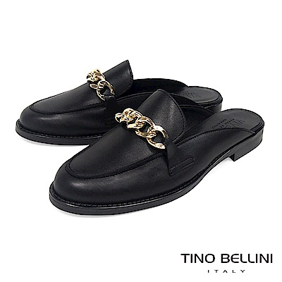 Tino Bellini 義大利進口環形鍊釦樂福MIX微跟穆樂鞋 _ 黑