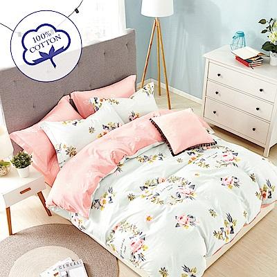 A-one - 100%純棉 雙人加大床包枕套三件組 - 玫瑰園 台灣製