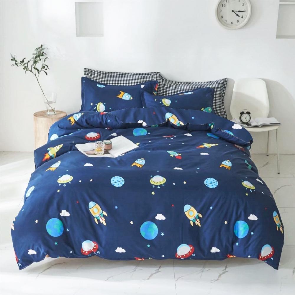 A-ONE 雪紡棉 雙人床包/枕套 三件組-太空飛船