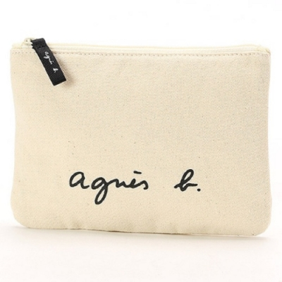 agnes b. Voyage 小型草寫LOGO帆布隨身包 (白)