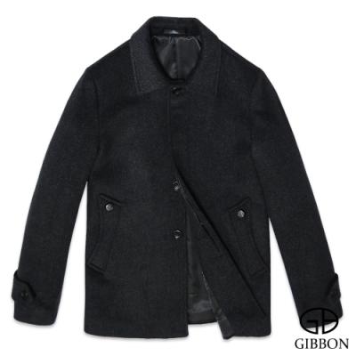 GIBBON 歐風雕花圓釦羊毛大衣‧斜紋灰