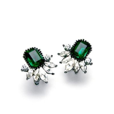 STORY故事銀飾-氣質時尚耳環-Dazzling晶鋯耳環(祖母綠)