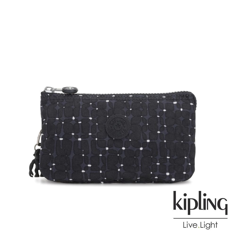 Kipling 低調質感緹花三夾層配件包-CREATIVITY L