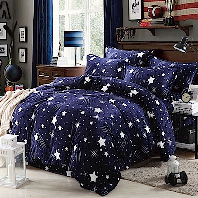 La Lune 冬季首選軒 s百分百法蘭絨雙人床包毯被四件組 陪我去看流星雨