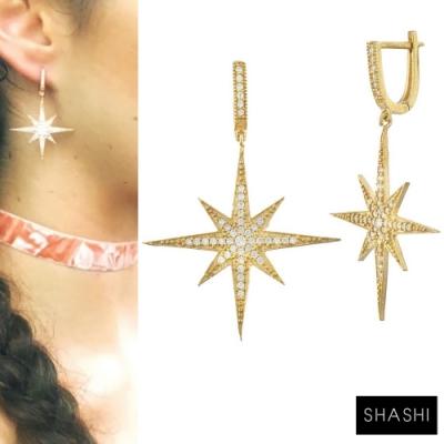 SHASHI 紐約品牌 ARIA 閃耀北極星耳環 鑲鑽金耳環