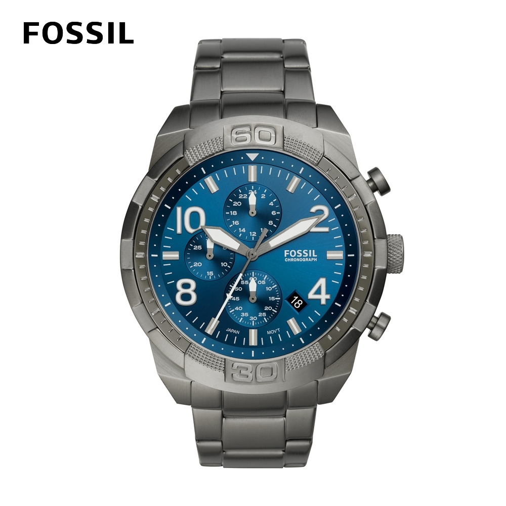 FOSSIL Bronson 星空藍計時手錶 男款 鐵灰色不鏽鋼鍊帶 50mm FS5711