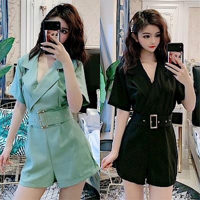 DABI 韓系西裝領休閒寬口高腰連身褲套裝短袖褲裝