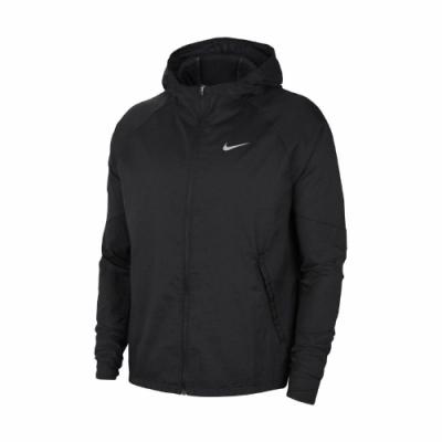 Nike 外套 ESS Running Jacket 男款 慢跑 輕量 尼龍 連帽 可收納 反光 黑 白 CU5359010