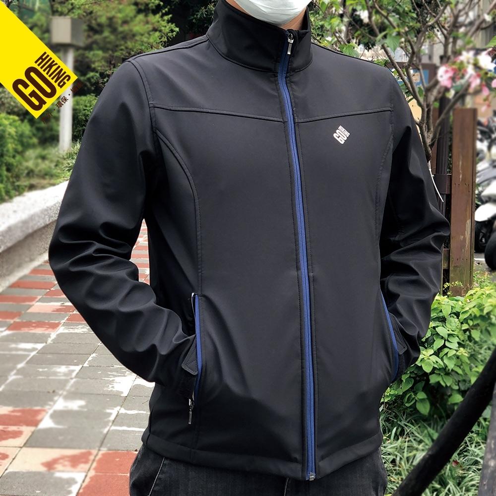 【GoHiking】男Soft Shell超潑水防風保暖外套[黑色]HSJB2MJ201
