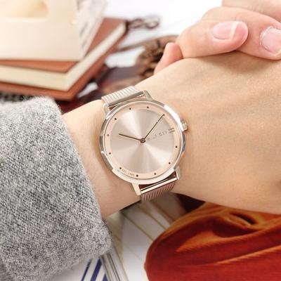 TOMMY HILFIGER / 極簡時尚 氣質典雅 超薄 米蘭編織不鏽鋼手錶 鍍玫瑰金 35mm