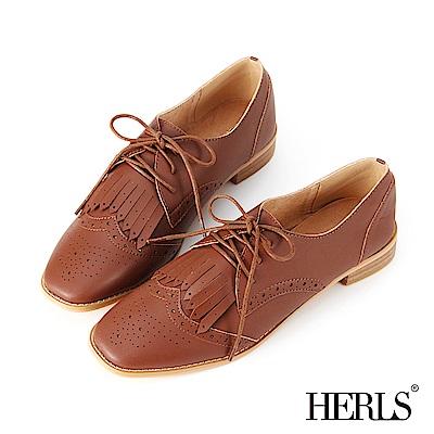 HERLS 文青質感 內真皮流蘇雕花牛津鞋-棕色