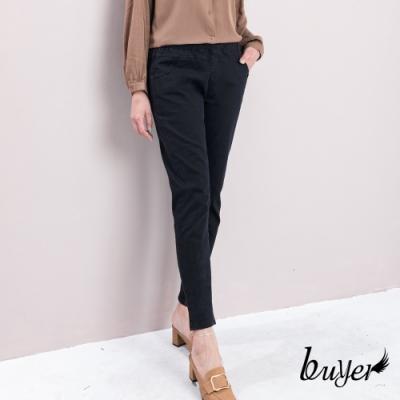 【buyer 白鵝】台灣製 超舒適彈性棉料休閒褲(黑色)