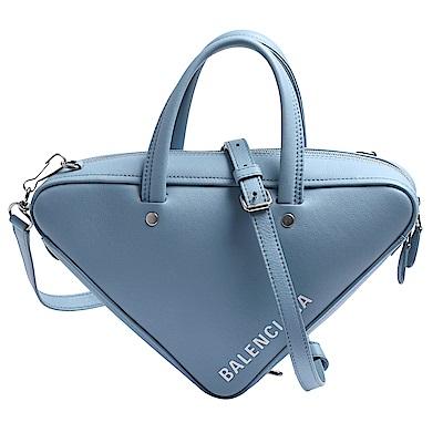 BALENCIAGA 品牌白色字母LOGO烙印三角幾何造型小牛皮手提/斜背包(小-亮藍)