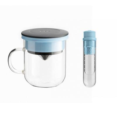 【PO:Selected】丹麥咖啡泡茶兩件組 (咖啡玻璃杯350ml-黑藍/試管茶格-藍)