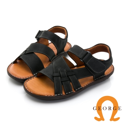 GEORGE 喬治皮鞋 舒適系列 真皮寬楦厚底氣墊涼鞋-黑
