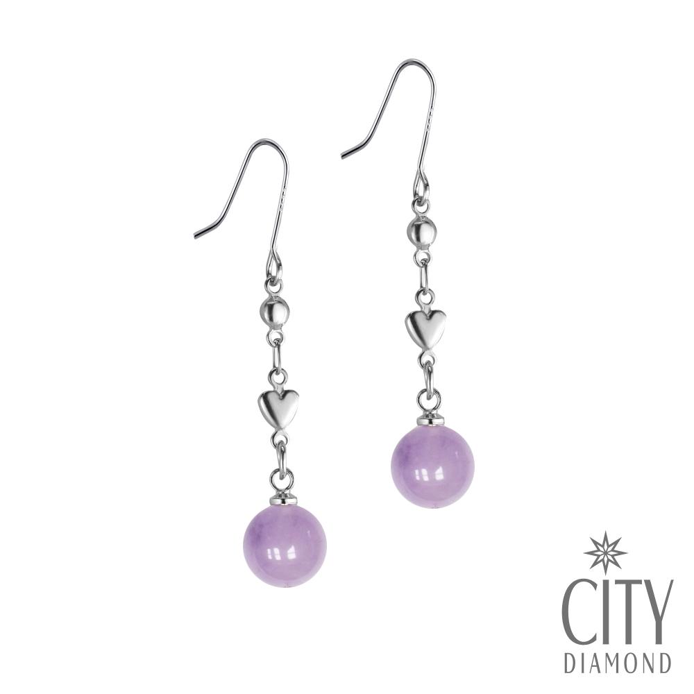 City Diamond引雅 【手作設計系列 】天然紫水晶愛心長掛垂式耳環