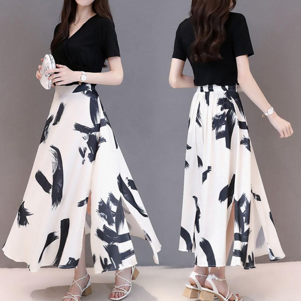 中大尺碼氣質冷淡V領交叉黑色上衣印花開叉雪紡裙XL~4L-Ballet Dolly
