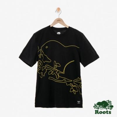 男裝Roots-Script Cooper短袖T恤-黑色