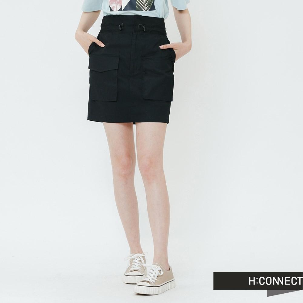 H:CONNECT 韓國品牌 女裝-雙口袋鬆緊花苞短裙-黑