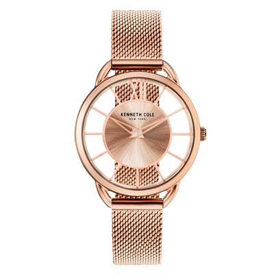 Kenneth Cole 氣質優雅夢幻鏤空腕錶-玫瑰金-KC50537002-33mm