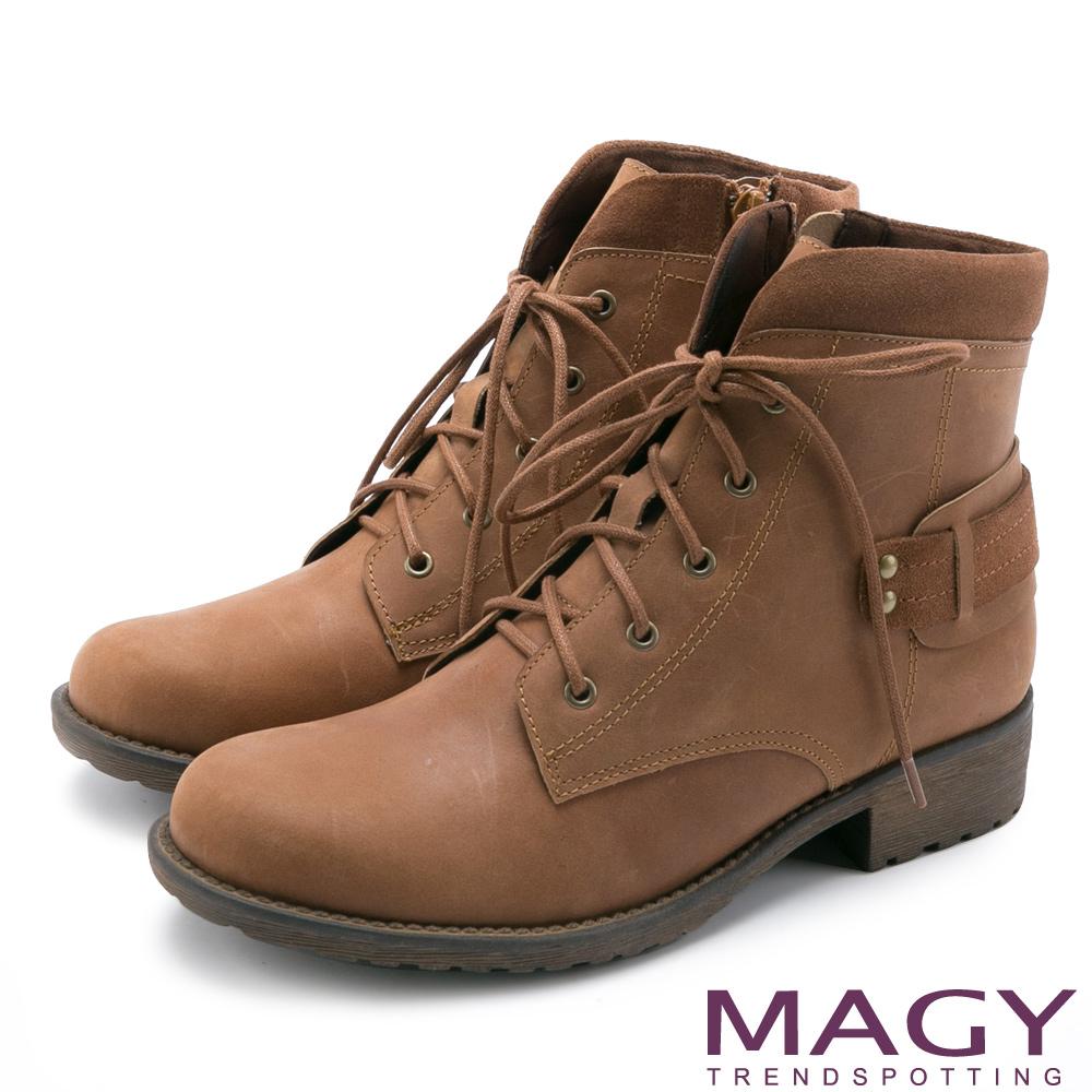 MAGY 嚴選真皮帥氣綁帶 女 短靴 棕色