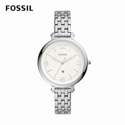 FOSSIL Monroe 婉約氣質女錶 銀色不鏽鋼鍊帶 38MM ES4924