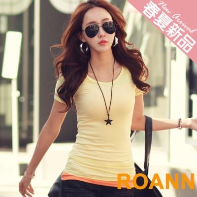 百搭款多色圓領短袖棉質T恤 (共四色)-ROANN