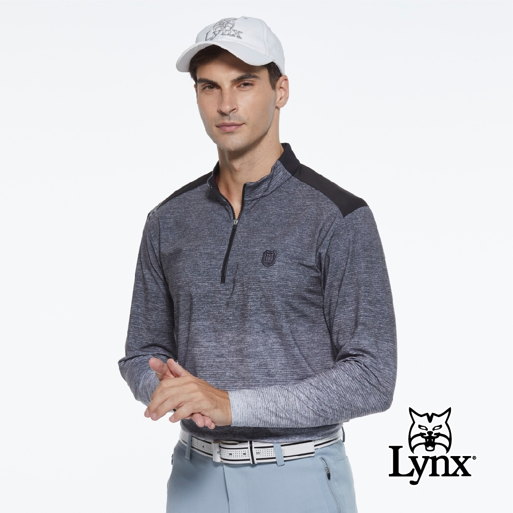 【Lynx Golf】男款遠紅外線保暖刷毛山貓織標反光印花長袖立領POLO衫-灰色