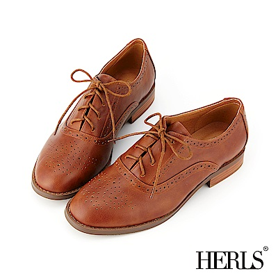 HERLS 英倫學院 內真皮雕花沖孔圓頭牛津鞋-棕色