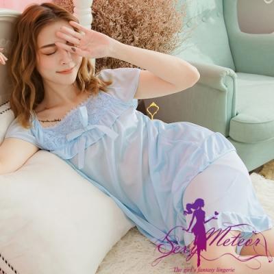 睡衣 全尺碼 網紗玫瑰冰絲短袖二件式睡衣組(微甜淺藍) Sexy Meteor