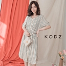 東京著衣-KODZ 慵懶知性腰綁帶側開叉條紋洋裝-S.M.L